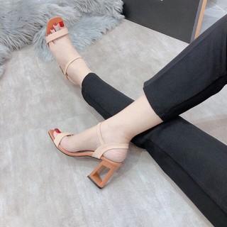 giày sandal cao gót quai mảnh pha 2 màu da mịn gót hình ô vuông mẫu mới 2020 siêu đẹp siêu sang