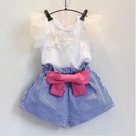 Korean Style Girl'S Suit Sweet Lace Short Sleeved T-Shirt &Bow Shorts Kid'S Clothes