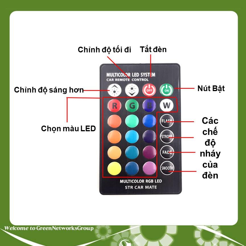 Bộ đèn Led 5050 RGB có remote điều khiển màu + chế độ nháy, sáng chuẩn T10 12v GreenNetworks - 2634424 , 1228185888 , 322_1228185888 , 999000 , Bo-den-Led-5050-RGB-co-remote-dieu-khien-mau-che-do-nhay-sang-chuan-T10-12v-GreenNetworks-322_1228185888 , shopee.vn , Bộ đèn Led 5050 RGB có remote điều khiển màu + chế độ nháy, sáng chuẩn T10 12v Gre