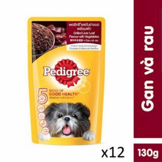 12 gói sốt chó pedigree vị gan và rau gói 130gr thumbnail