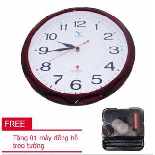 Đồng hồ tròn treo tường MitaCo (M80) 34cm nâu+ Tặng 01 máy đồng hồ treo tường