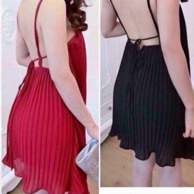 1352640681 - Váy xếp li hở lưng, váy hở lưng, váy xếp li, váy voan, váy mùa hè, đầm sexy, đầm xếp li, đầm hở lưng