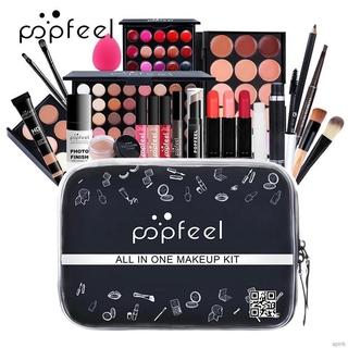 24Pcs Makeup Set Eyeshadow Lip Gloss Lipstick Eyebrow Pencil Concealer Mascara Eyeliner Foundation Brushes Cosmetic Kit with Bag