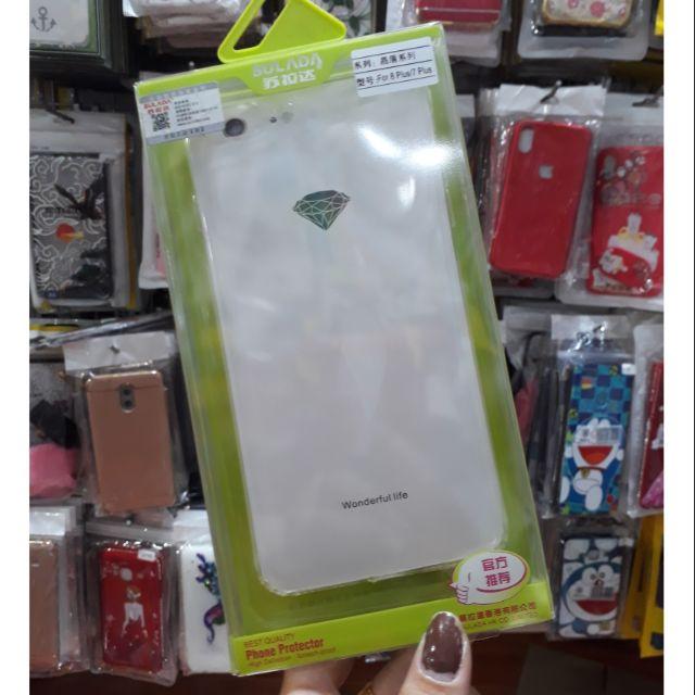 Iphone 7 Plus/ 8 Plus ốp lưng silicon trong suốt cao cấp có nút đậy chống bụi