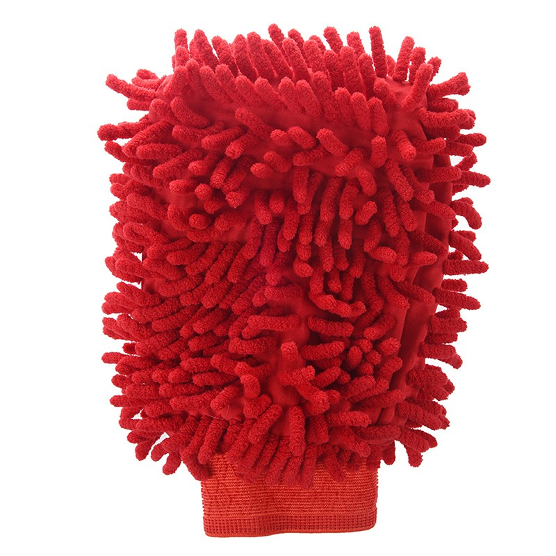 Car Vehicle Cleaning Red Microfiber Chenille Mitten Glove Brush Cleaner XD