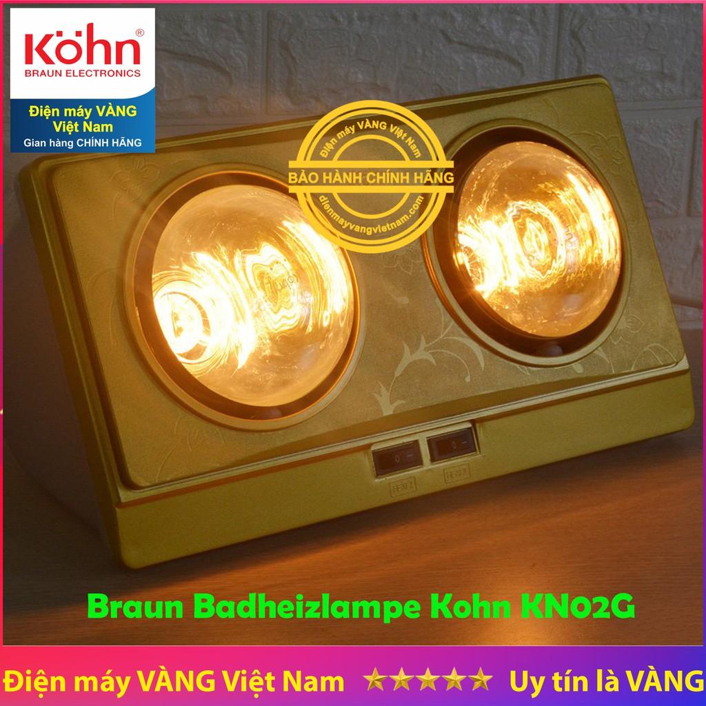 Đèn sưởi nhà tắm 2 bóng Braun Kohn KN02G bảo hành 5 năm