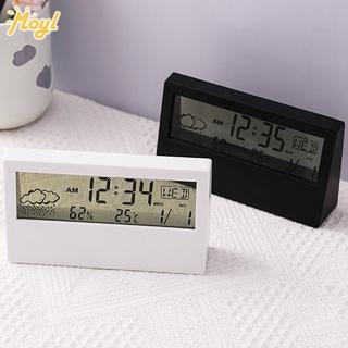 Korean Simple Transparent Desktop Alarm Clock Timer Bedroom Dormitory Multifunctional Weather Electronic Clock with Light