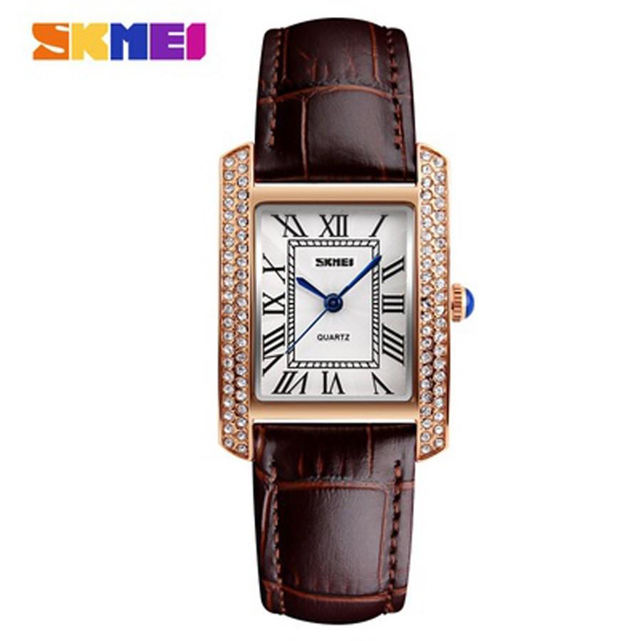 Đồng hồ nữ Skmei 1281 dây nâu viền gắn đá