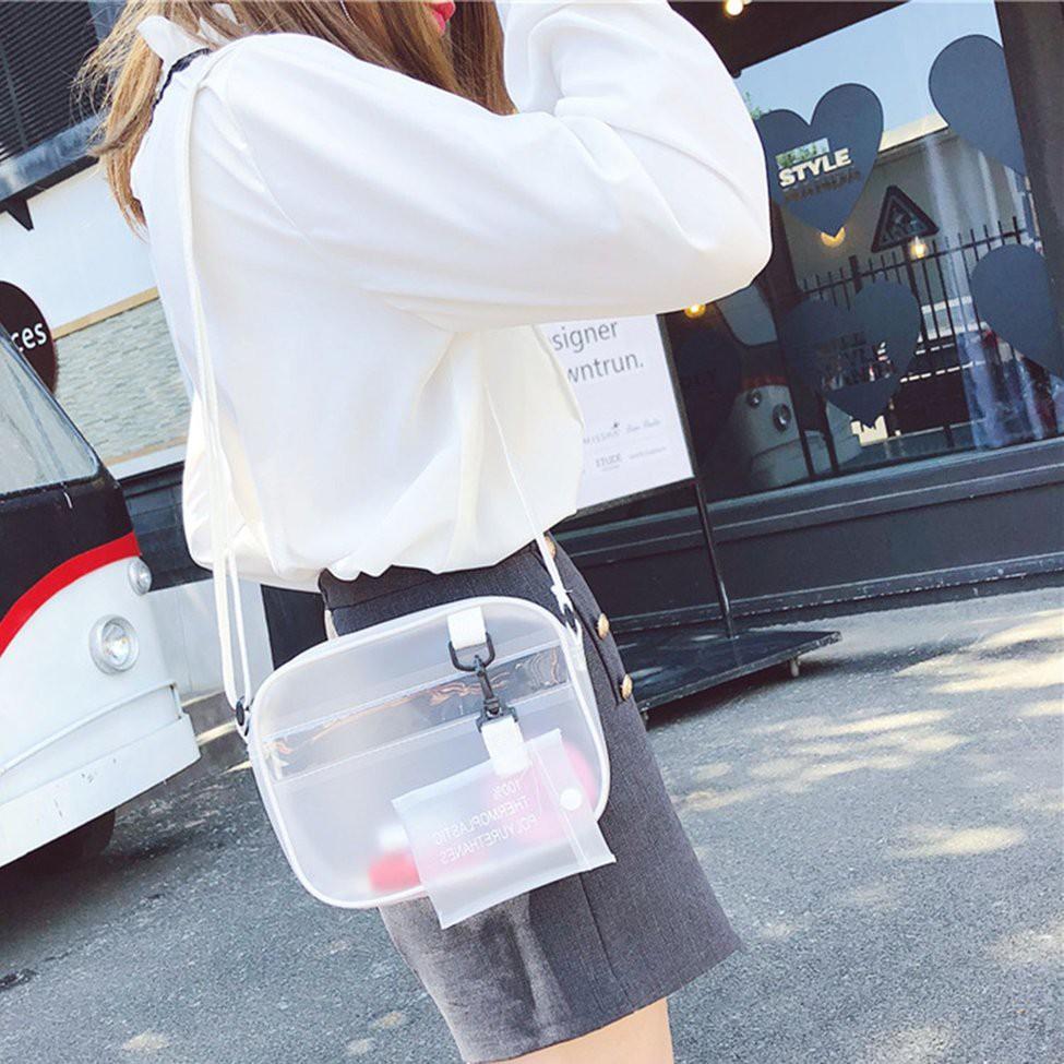 Túi trong suốt đeo chéo có quai điều chỉnh kiểu dáng xinh xắn trẻ trung cho nữ
