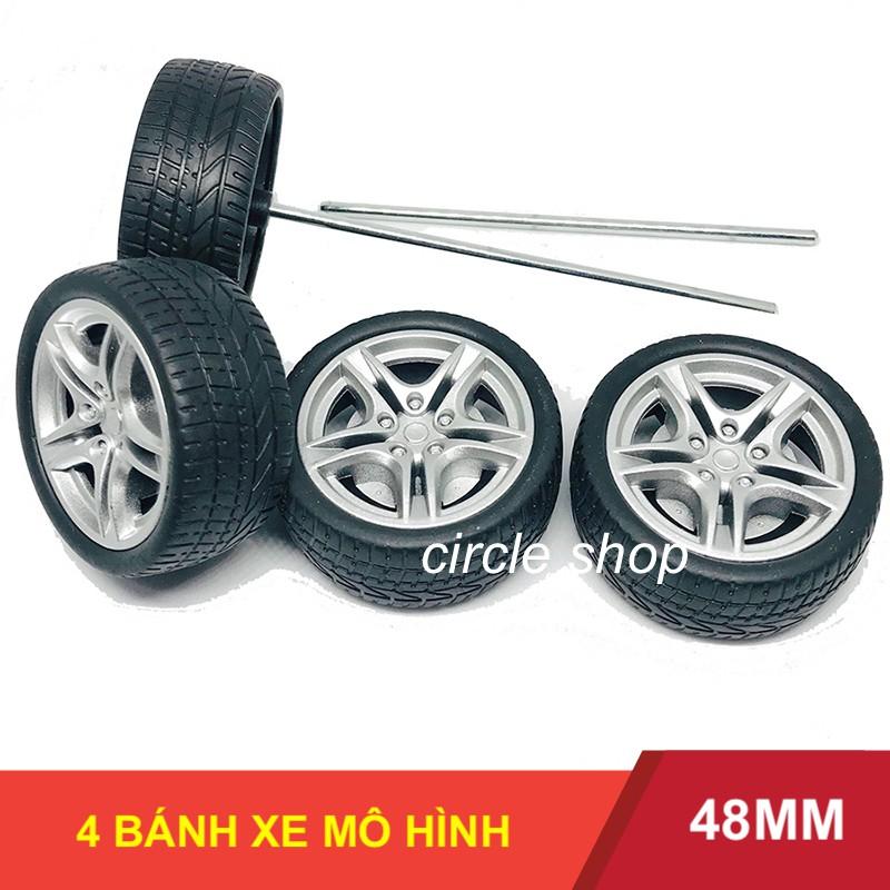 Bộ 4 Bánh xe mini kèm trục 3mm tỉ lệ 1:10 vỏ cao su ma sát rất tốt chế ô tô – LK0052