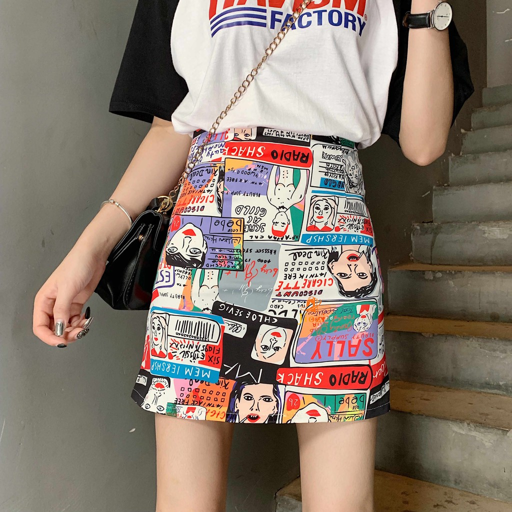 The New Korean version Graffiti Comic printing Slim fit Slim Short skirt