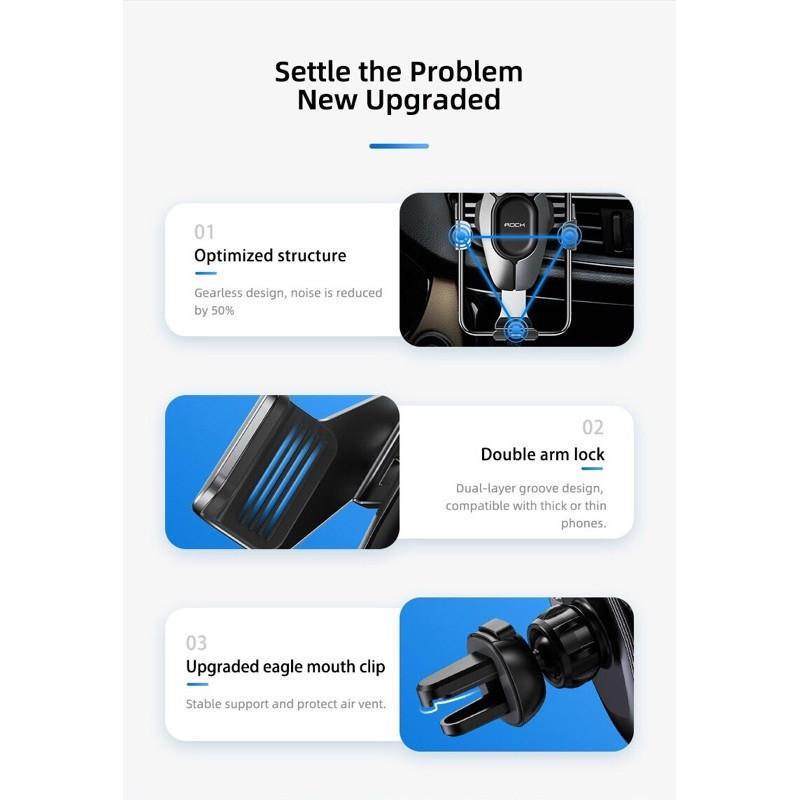 Giá đỡ Rock kẹp điện thoại cửa gió oto xe hơi Gravity air Vent car mount Pro chính hãng