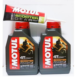 Combo 2 MOTUL Scooter Power LE 0,8L và tuýp láp 120ml
