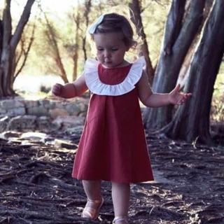 Váy thô đỏ pha viền trắng