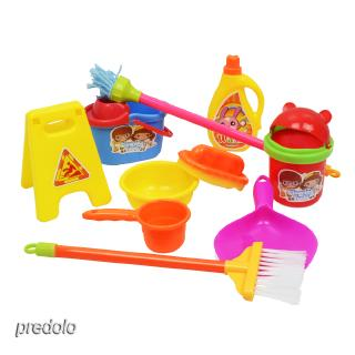 10Pcs Kid Play House Cleaning Mop Broom Bucket Brush Dustpan Set Pretend Toy