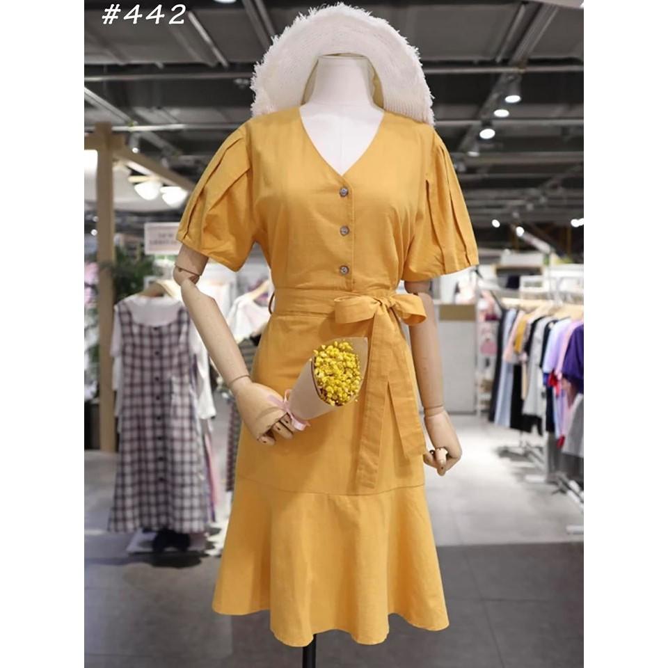 Đầm vàng cột nơ eo