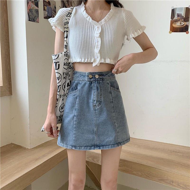 ◈❁▤Chân Váy Jean Chữ A Lưng Cao Thời Trang Hàn Quốc Cho Nữ