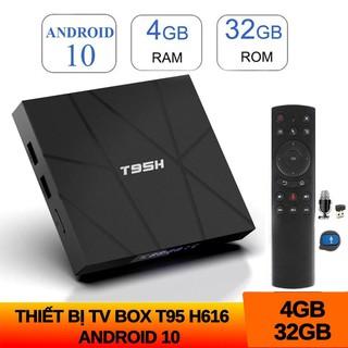 Android tivi box T95H 4GB RAM 32GB ROM android 10 điều khiển giọng nói voice có bluetooth cài các ứng dụng miễn phí