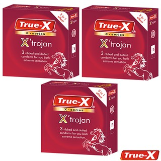 Bộ 3 hộp Bao cao su gân gai True-X X Trojan- Tăng cường cảm xúc cho cả hai (9 chiếc) thumbnail