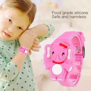 Đồng hồ đèn LED cho bé gái hình chú voi cute dây silicon xinh xắn BBShine – DH007