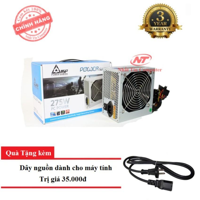 Nguồn công suất thực dành cho máy tính VSP X275W - Fan 12cm (bạc) + tặng kèm dây nguồn