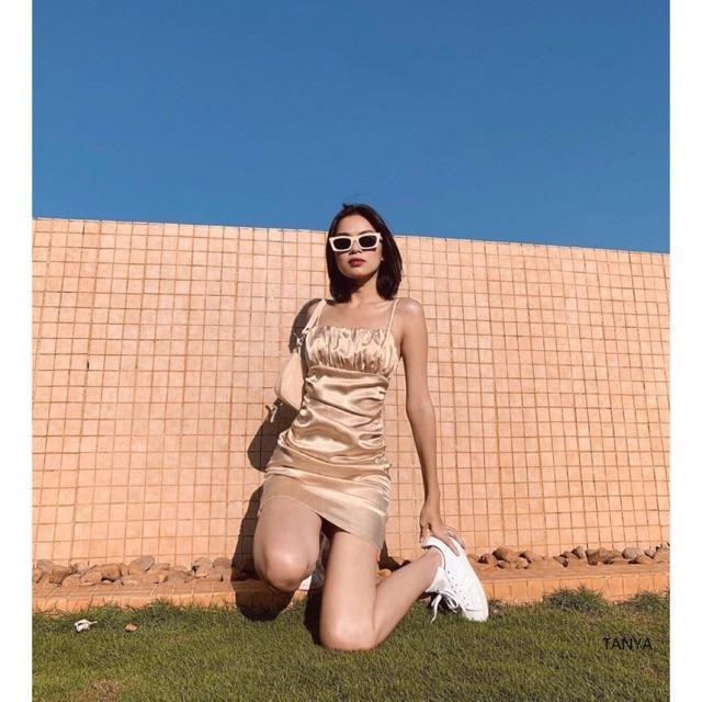 ẢNH THẬT- Đầm body lụa 2 da nhiều màu 2 day nhúng thân Nana ( hàng thiết kế) ảnh cuối cận chất vải