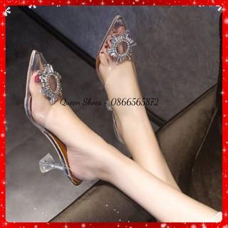 Sandal cao gót - dép / guốc cao gót nữ gót nhọn 9 phân quai mika trong suốt đính nơ mặt trời CG02