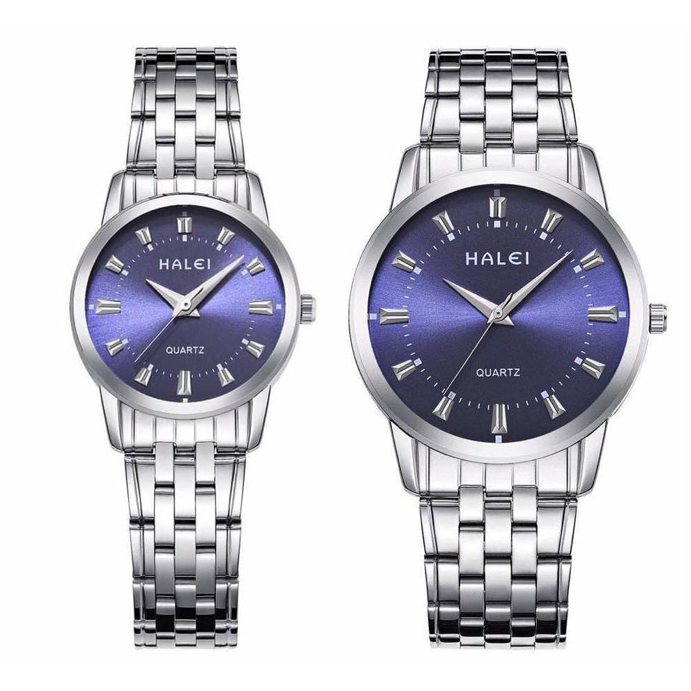 Đồng hồ nam nữ Halei 502 dây trắng mặt xanh