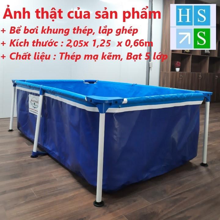 (Bảo hành 3 năm) Bể bơi cao cấp BestPool (Khung thép, Bạt 5 lớp, KT: 205 x 125 x 66cm) Bể bơi gia đình lắp ghép, di động