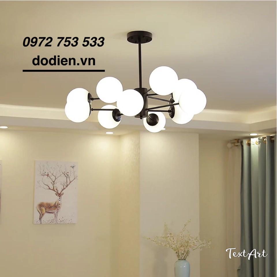 Đèn chùm hiện đại đèn thả trần phòng khách,bàn ăn 12 bóng thân đen