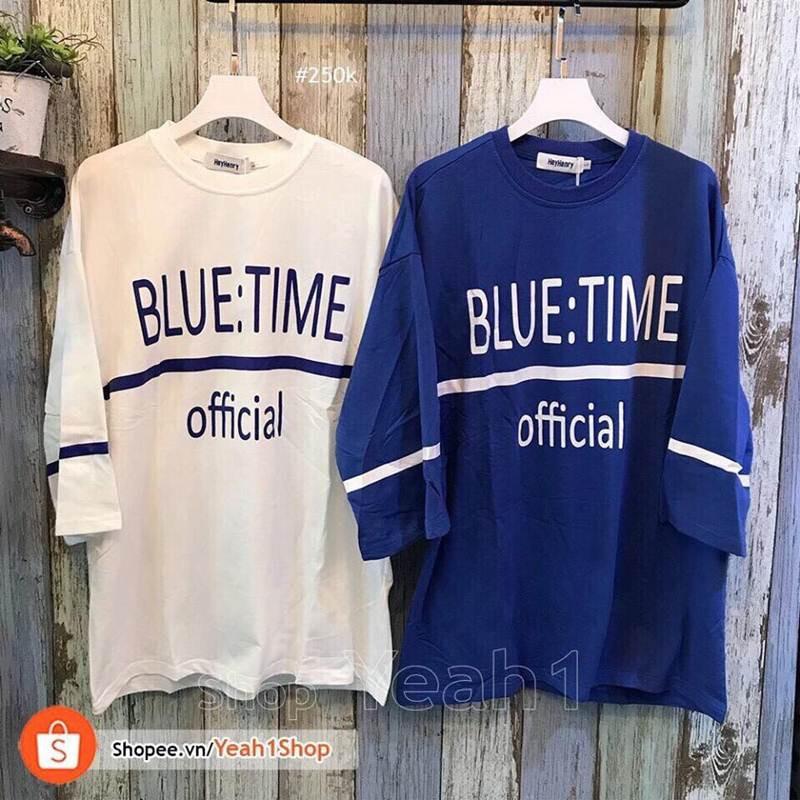 Áo tay lở tay viền Blue Time unisex