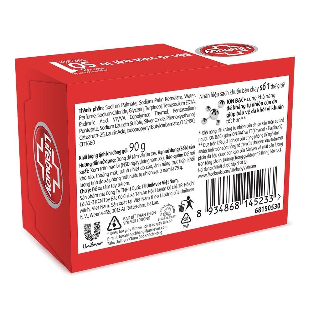 Xà bông cục Lifebuoy Bảo vệ vượt trội 10 (Đỏ) 90g