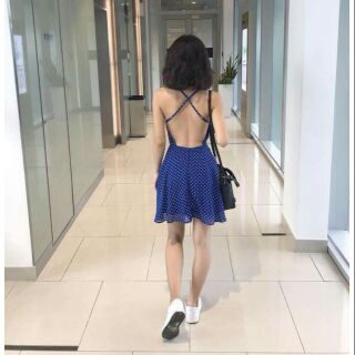 Mini Dress X-back – chấm bi xanh