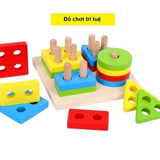 Đồ Chơi Montessori Bảng Chuỗi Thả Hình Bằng Gỗ Giúp Bé Học Phân Biệt Màu Sắc Hình Khối, Đồ Chơi Cho Bé, Đồ Chơi Phát Tri