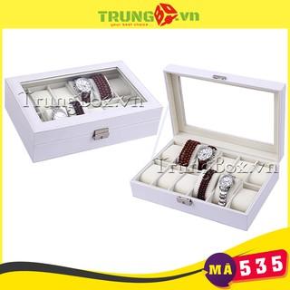 Hộp Đồng Hồ 12 Ngăn Vỏ Da Trắng SAIKE - Mã 535 thumbnail