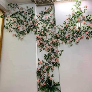 Dây hoa hồng leo cổ dài 3m – hoa giả, dây rừng nhìn thật 99%