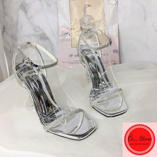 sandal quai đá, sandal hở gót, quai hậu gắn đá cao 8-9cm