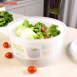 [haostont]Plastic Large Salad Spinner Leaf Dryer Lettuce Veg Drainer Dressing Herb Water