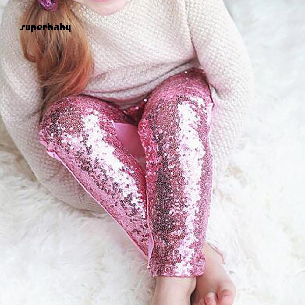 SBaby-Fashion Solid Color Shiny Sequins Baby Girls Long Pants Leggings Cotton Trousers