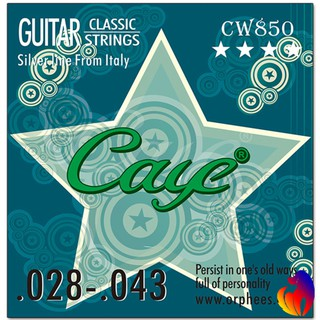 Orphee CAYE 6 Pcs Clear Nylon Silver Plated Classical Guitar Strings Normal