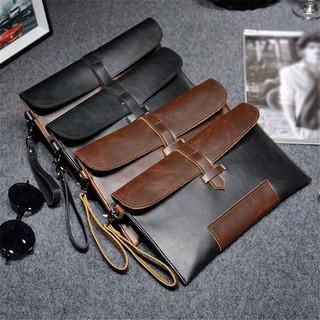 YJFASHION Hot Men Leather Work Clutch Envelope Bag Briefcase Purse Pouch