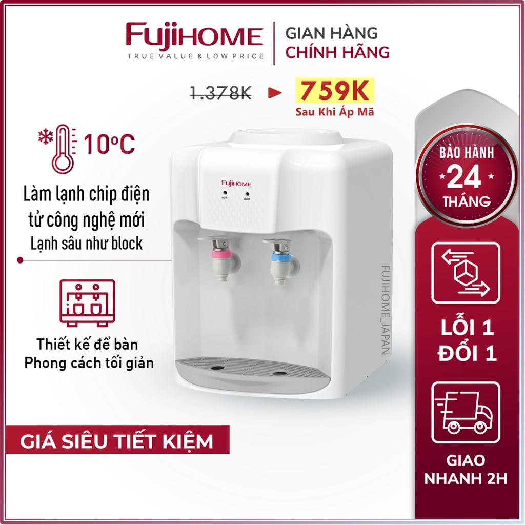 Cây nước nóng lạnh để bàn Nhập Khẩu Fujihome WD5510E, bình lọc tủ máy lọc nước nóng lạnh mini uống công nghệ Nhật Bản