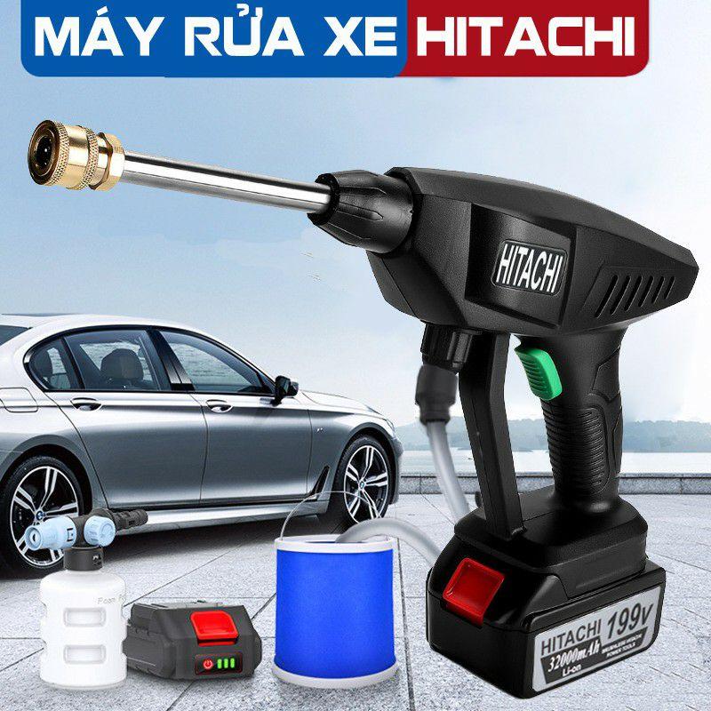 Máy rửa xe dùng pin mini, Máy xịt rửa tăng áp Hitachi 199V áp lực cao 1400W [Tặng bình tạo bọt] | sẵn hàng|
