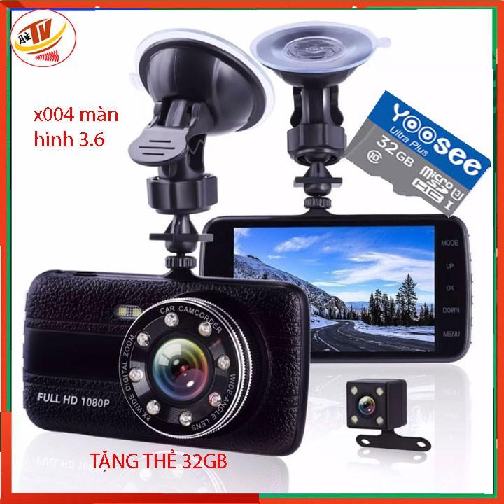 [kèm thẻ 32gb] Camera Hành Trình màn 3.6 inch Camera hành trình oto trước sau độ phân giải 1080p x004 màn 3.6 inch