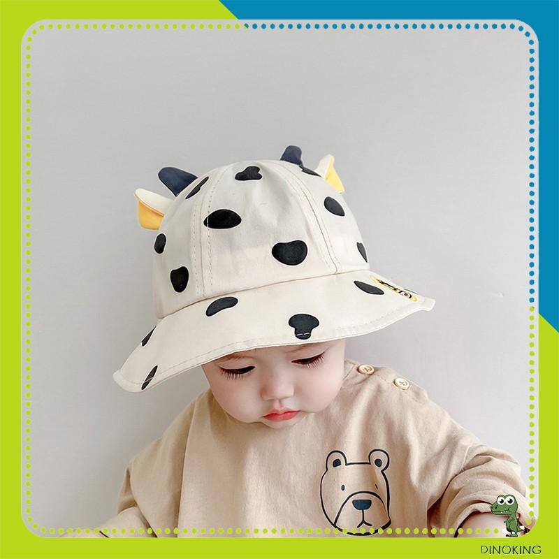 Mũ vành cho bé DINOKING Nón Bucket trẻ em họa tiết bò sữa dễ thương cho bé trai, bé gái 1-5 tuổi MU03