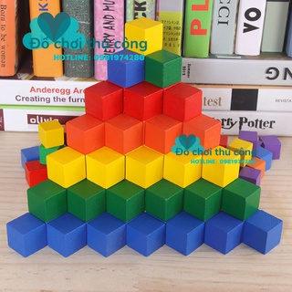 100 Khối gỗ lập phương - khối vuông bằng gỗ, giúp bé phân biệt màu sắc và hình khối phát triển tư duy thumbnail
