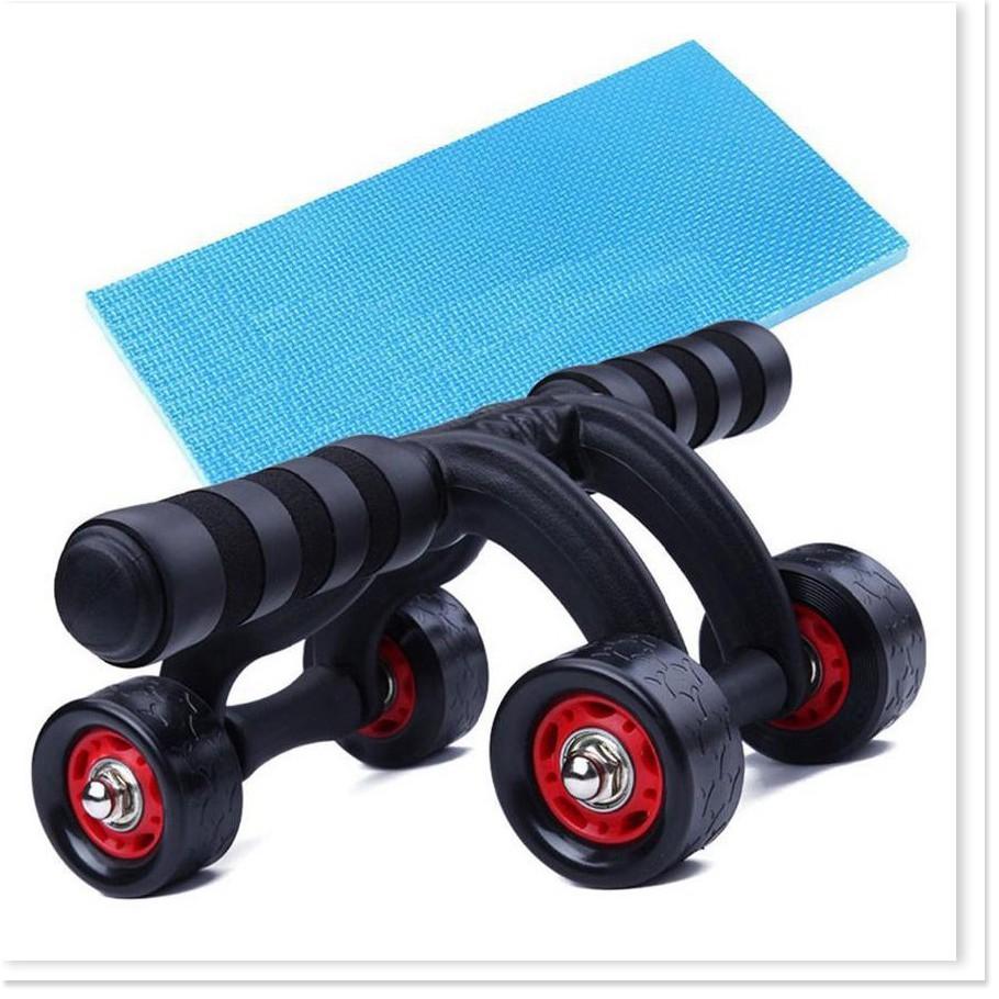 Con lăn tập bụng 4 bánh cao cấp, có miếng chặn (tặng kèm thảm), Máy tập cơ bụng con lăng bánh xe tập thể dục nam nữ