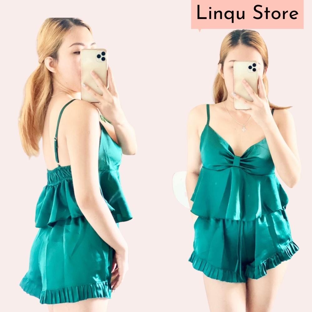 Mặc gì đẹp: Thoải mái với Đồ ngủ lụa sexy bộ ngủ 2 dây gợi cảm chất lụa Satin Freesize - Linqu Sleepwear