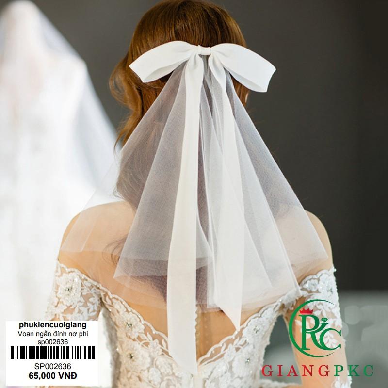 Voan cài tóc cô dâu voan trơn ngắn đính nơ dài mẫu voan cô dâu 2019 Giangpkc