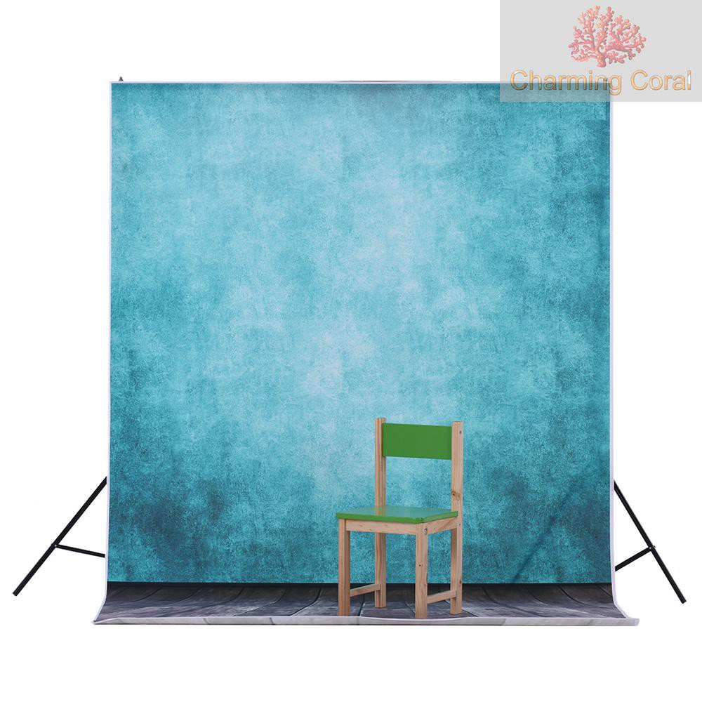 CTOY Andoer 1.5 * 3m/4.9 * 9.8ft Video Studio Photo Backdrop Background Digital Printed Blue Classic Wall Wooden Floor Pattern for Teenager Adult Kid Children Portrait Photography